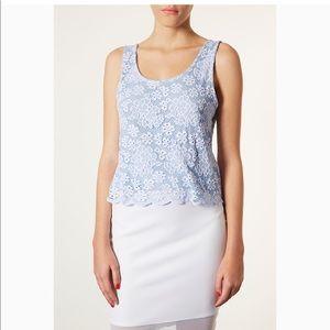 Topshop blue lace top